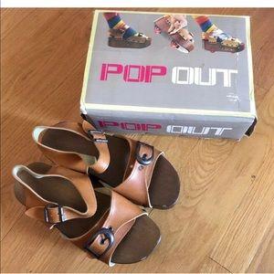 Pop Out Vintage Wooden Sandals Roller Skates 6